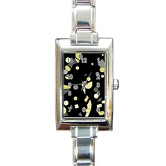 Yellow And Gray Abstract Art Rectangle Italian Charm Watch by Valentinaart