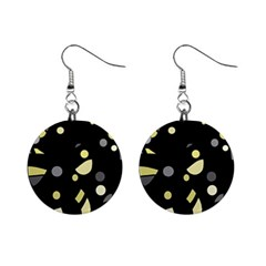 Yellow And Gray Abstract Art Mini Button Earrings by Valentinaart