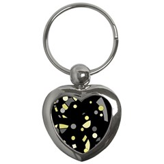 Yellow And Gray Abstract Art Key Chains (heart)  by Valentinaart