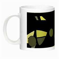 Yellow And Gray Abstract Art Night Luminous Mugs by Valentinaart