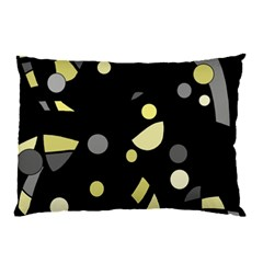 Yellow And Gray Abstract Art Pillow Case by Valentinaart