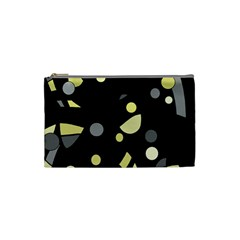 Yellow And Gray Abstract Art Cosmetic Bag (small)  by Valentinaart