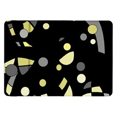 Yellow And Gray Abstract Art Samsung Galaxy Tab 8 9  P7300 Flip Case by Valentinaart