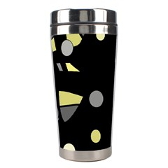 Yellow And Gray Abstract Art Stainless Steel Travel Tumblers by Valentinaart