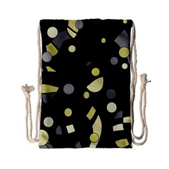 Yellow And Gray Abstract Art Drawstring Bag (small) by Valentinaart