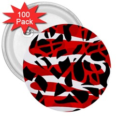 Red Chaos 3  Buttons (100 Pack)  by Valentinaart
