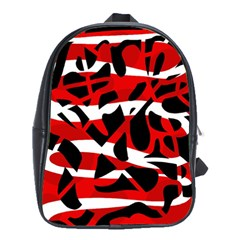 Red Chaos School Bags(large)  by Valentinaart