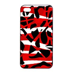 Red Chaos Apple Iphone 4/4s Seamless Case (black) by Valentinaart