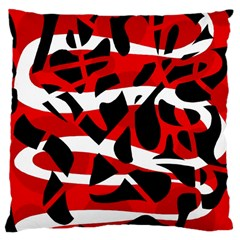 Red Chaos Large Cushion Case (two Sides) by Valentinaart