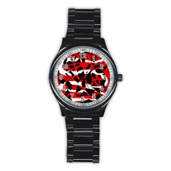 Red Chaos Stainless Steel Round Watch by Valentinaart