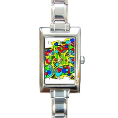 Colorful Chaos Rectangle Italian Charm Watch by Valentinaart