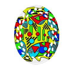Colorful Chaos Ornament (oval Filigree)  by Valentinaart