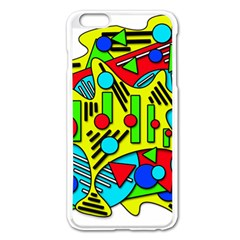 Colorful Chaos Apple Iphone 6 Plus/6s Plus Enamel White Case by Valentinaart