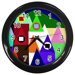 Colorful Houses  Wall Clocks (black) by Valentinaart