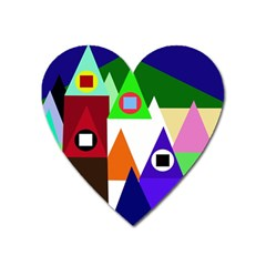 Colorful Houses  Heart Magnet by Valentinaart