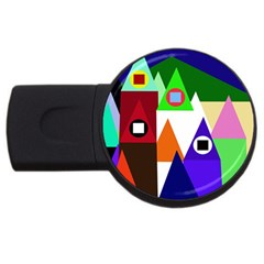 Colorful Houses  Usb Flash Drive Round (4 Gb)