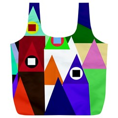 Colorful Houses  Full Print Recycle Bags (l)  by Valentinaart