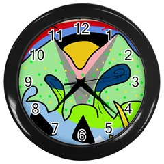 Colorful Landscape Wall Clocks (black) by Valentinaart