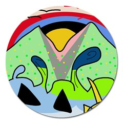 Colorful Landscape Magnet 5  (round) by Valentinaart