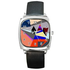 Geometrical Abstract Design Square Metal Watch by Valentinaart