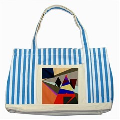 Geometrical Abstract Design Striped Blue Tote Bag by Valentinaart