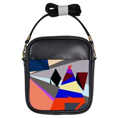 Geometrical Abstract Design Girls Sling Bags by Valentinaart