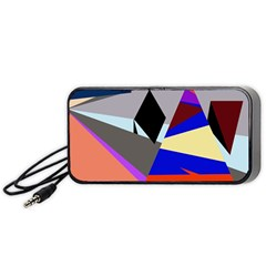 Geometrical Abstract Design Portable Speaker (black)  by Valentinaart