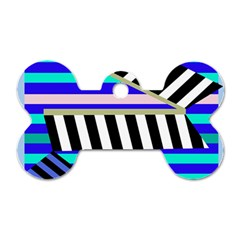 Blue Lines Decor Dog Tag Bone (one Side) by Valentinaart