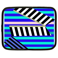 Blue Lines Decor Netbook Case (large) by Valentinaart