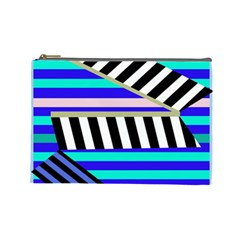 Blue Lines Decor Cosmetic Bag (large)  by Valentinaart