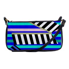 Blue Lines Decor Shoulder Clutch Bags by Valentinaart
