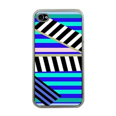 Blue Lines Decor Apple Iphone 4 Case (clear)