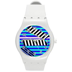 Blue Lines Decor Round Plastic Sport Watch (m) by Valentinaart