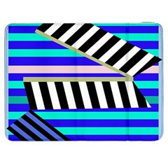 Blue Lines Decor Samsung Galaxy Tab 7  P1000 Flip Case by Valentinaart
