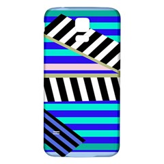 Blue Lines Decor Samsung Galaxy S5 Back Case (white) by Valentinaart