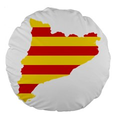 Flag Map Of Catalonia Large 18  Premium Round Cushions by abbeyz71