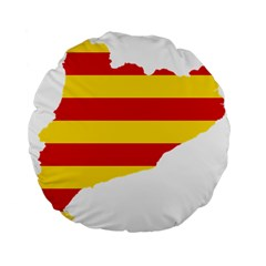Flag Map Of Catalonia Standard 15  Premium Flano Round Cushions by abbeyz71