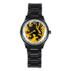 Flanders Coat Of Arms  Stainless Steel Round Watch by abbeyz71