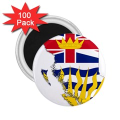 Flag Map Of British Columbia 2 25  Magnets (100 Pack)  by abbeyz71