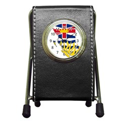 Flag Map Of British Columbia Pen Holder Desk Clocks by abbeyz71