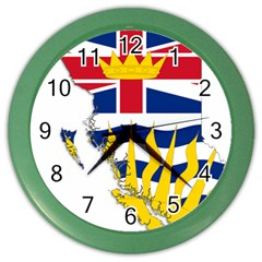 Flag Map Of British Columbia Color Wall Clocks by abbeyz71
