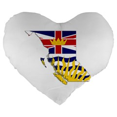Flag Map Of British Columbia Large 19  Premium Heart Shape Cushions by abbeyz71