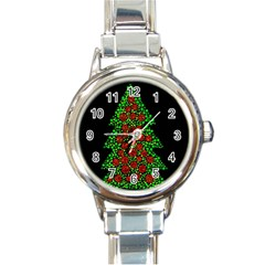 Sparkling Christmas Tree Round Italian Charm Watch by Valentinaart