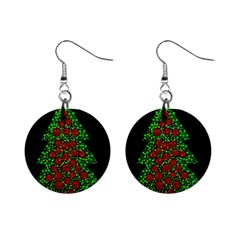 Sparkling Christmas Tree Mini Button Earrings by Valentinaart