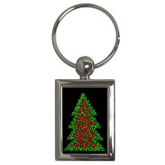 Sparkling Christmas Tree Key Chains (rectangle)  by Valentinaart