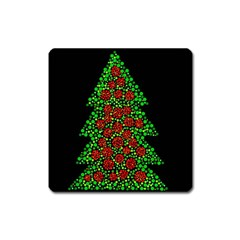 Sparkling Christmas Tree Square Magnet by Valentinaart