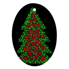 Sparkling Christmas Tree Oval Ornament (two Sides) by Valentinaart