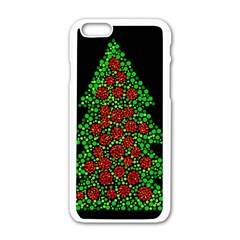 Sparkling Christmas Tree Apple Iphone 6/6s White Enamel Case by Valentinaart
