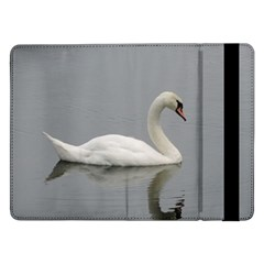 Swimming White Swan Samsung Galaxy Tab Pro 12 2  Flip Case by picsaspassion