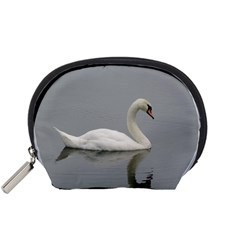 Swimming White Swan Accessory Pouches (small)  by picsaspassion